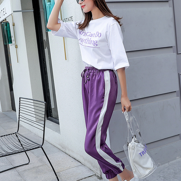 Heart Patched T-Shirt With Contrast Trousers