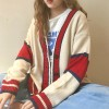 Tricolor Button Up Free Size Winter Sweater