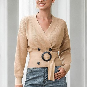 Belt Decorative V Neck Line Long Sleeves Cardigans - Khaki