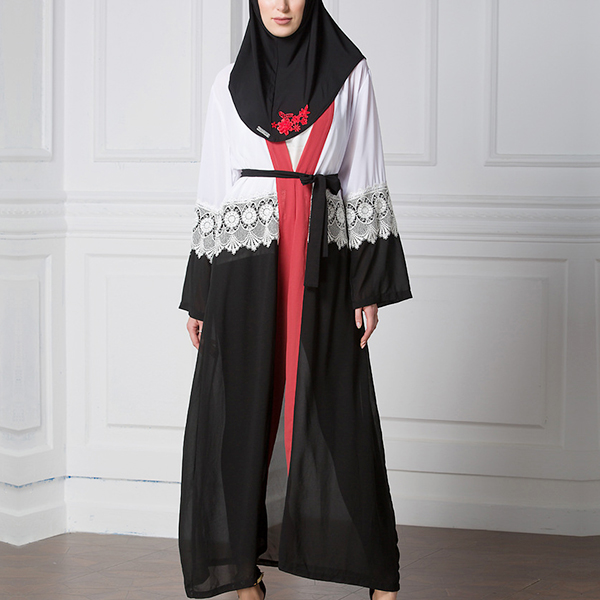 Charming Lace Decorated Black And Red Abaya Dress