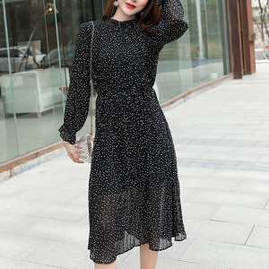 Polka Prints Stand Neck Ruffled Midi Dress - Black