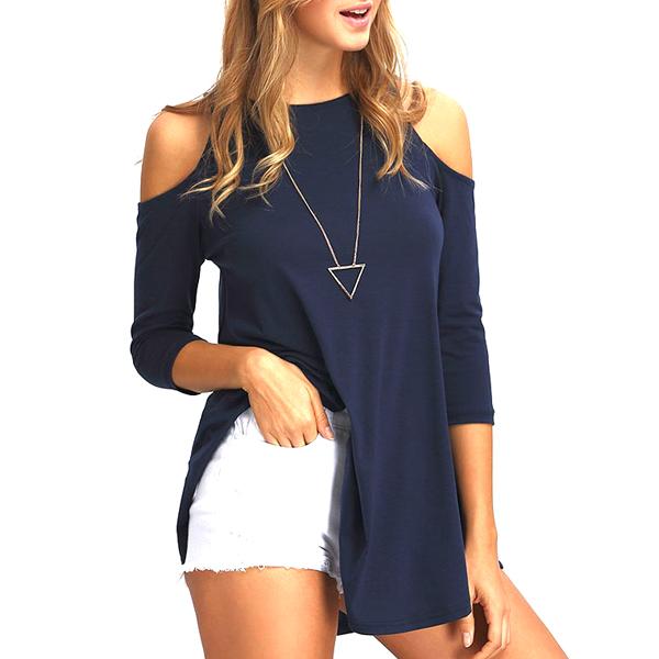 Open Shoulder Swing Round Neck Dark Blue Shirt