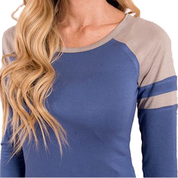 Round Neck Irregular Hem Blue T-Shirt