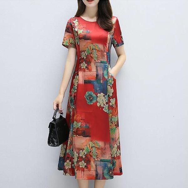 Chiffon Flower Prints Midi Summer Dress - Red