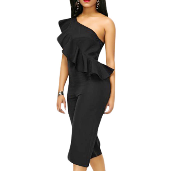 New Stylish One Shoulder Elegant Black Jumpsuit