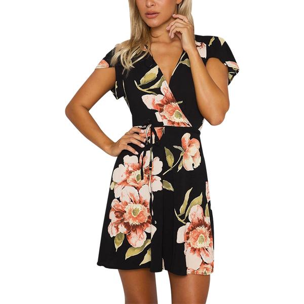 Floral Cap Sleeved Wrap Mini Dress For Women
