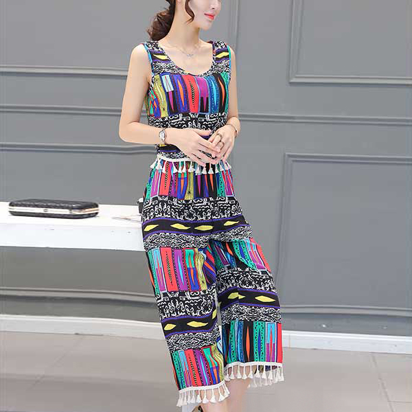 Colorful Striped Prints Two Pieces Beach Wear Suit