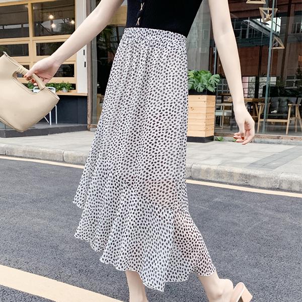 Flared Hem Irregular Chiffon Printed Skirt - White
