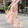 Flared Hem Irregular Chiffon Printed Skirt - Floral
