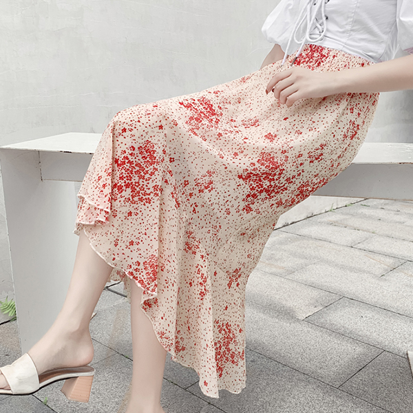 Flared Hem Irregular Chiffon Printed Skirt - Floral