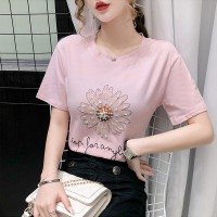 Round Neck Pearl Decorative Floral Printed T-Shirt - Pink