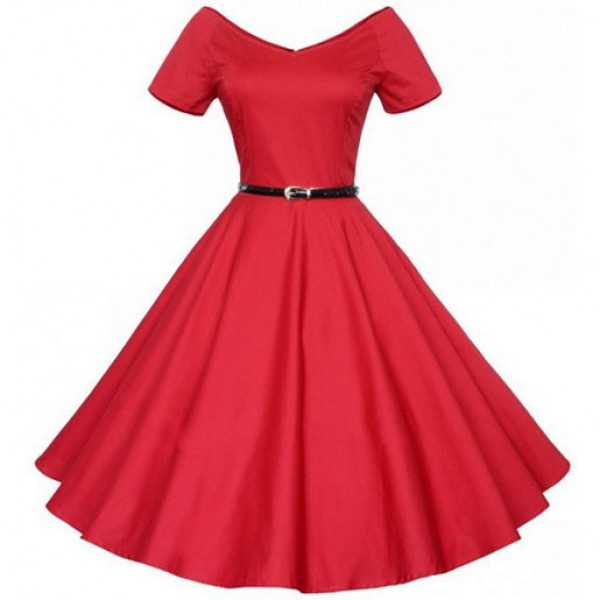 Stylish Summer Collection Thin Dress Big Long Section Dress Red