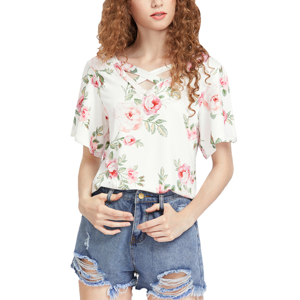 Floral Cross V Neck Stylish Top For Women