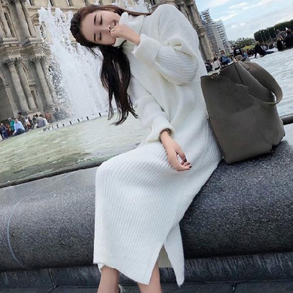 High Neckline Long Sleeves Winter Seasons Dress - White