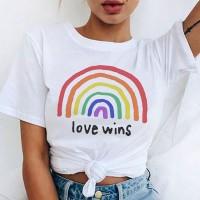 Rainbow Love Round Neck Plain Casual T-Shirt - White