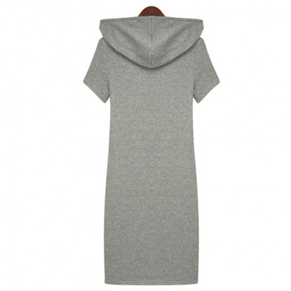 European And American Fashion Street Hooded Casual Dress Blue