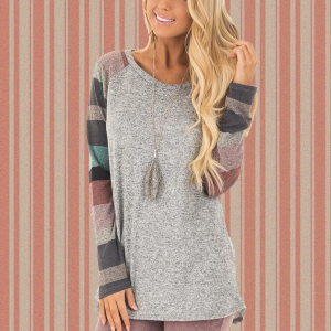 Colorful Patch Sleeves Boat Neck Gray Top
