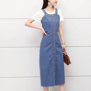 Button Up Strapped Denim Pocket Midi Skirt Dress