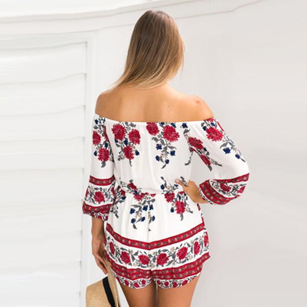 2c9989328cb Romper Playsuit Floral Dress Short Sleeve Off Shoulder