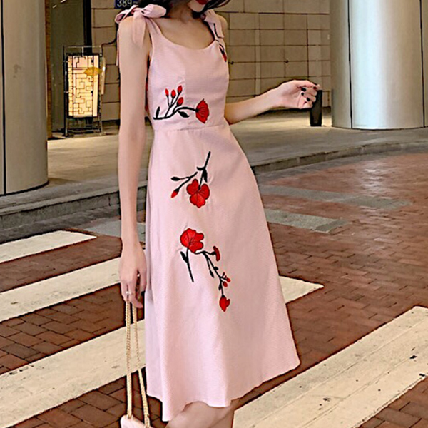Knotted Strap Shoulder Round Neck Mini Dress