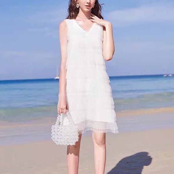 V Neck Flared Chiffon Mini Summer Dress