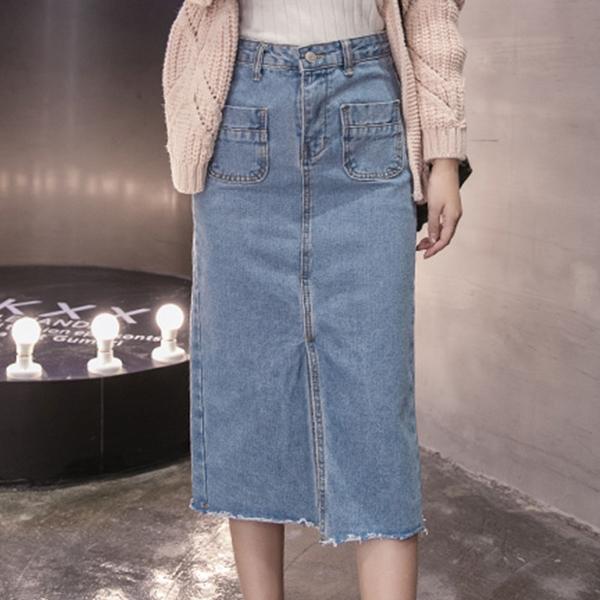 Split Hem Denim Front Pocket Skirt - Blue