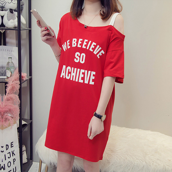 Printed Text Solid Color Mini T-Shirt Dress - Red