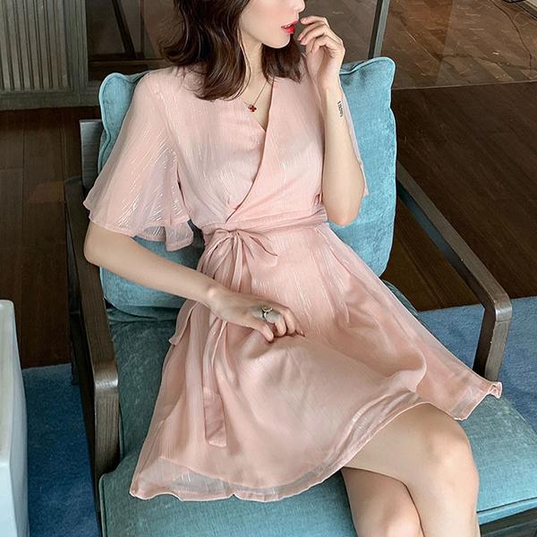 Chiffon Wrapped Mini Skirt Dress - Pink