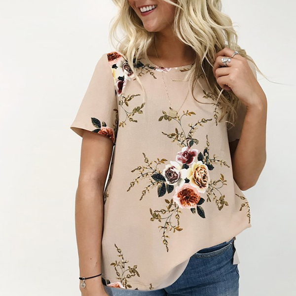 Floral Prints Casual Khaki Top