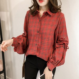 Check Prints Loose Casual Wear Shirt - Red
