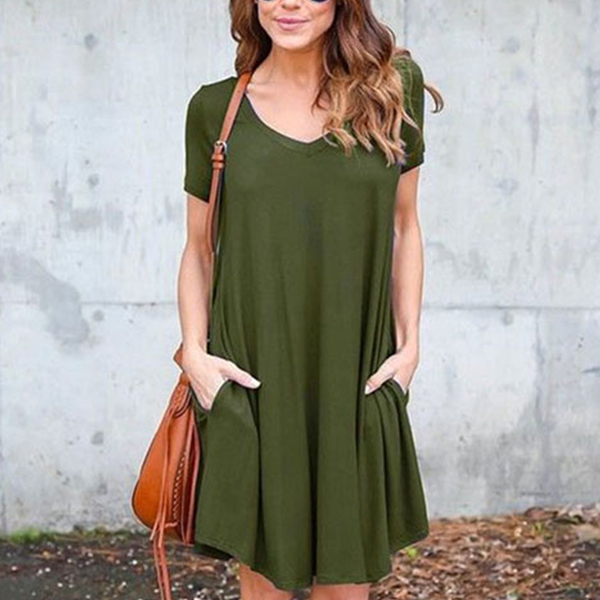 Short Sleeves Plain Green Formal Dress