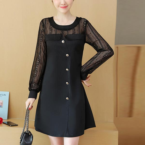 Chiffon See-through Laced Sleeve Women Mini Dress - Black
