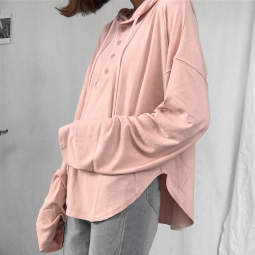 Solid Color Long Sleeves Hooded T-Shirt - Pink