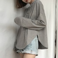 Solid Color Long Sleeves Hooded T-Shirt - Grey