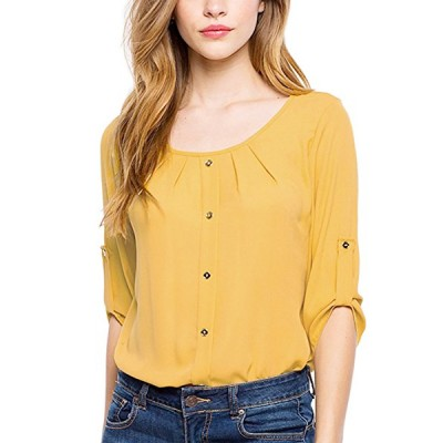 Round Neck Yellow Sombre Top For Women