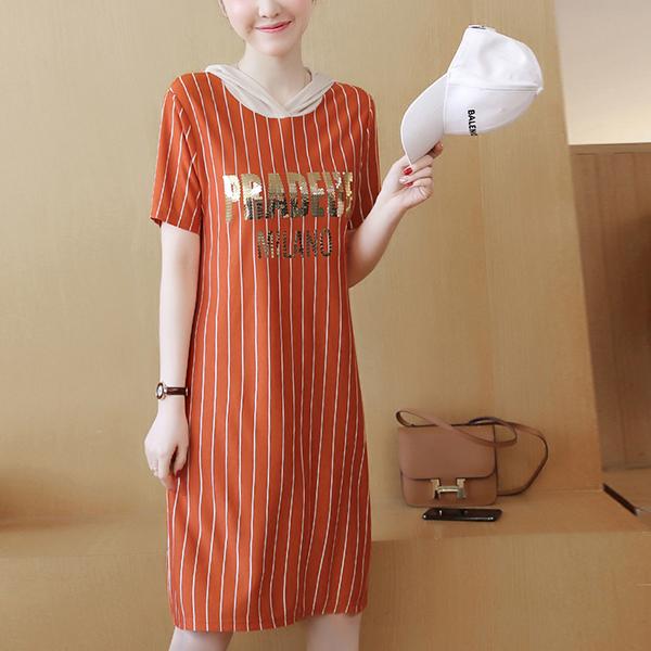 Text Prints Hoodie T-Shirt Dress - Orange