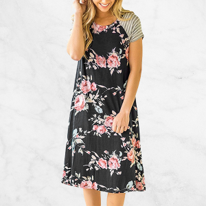 Printed Floral Black Short Sleeves Mini Dress