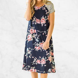 Printed Floral Blue Short Sleeves Mini Dress