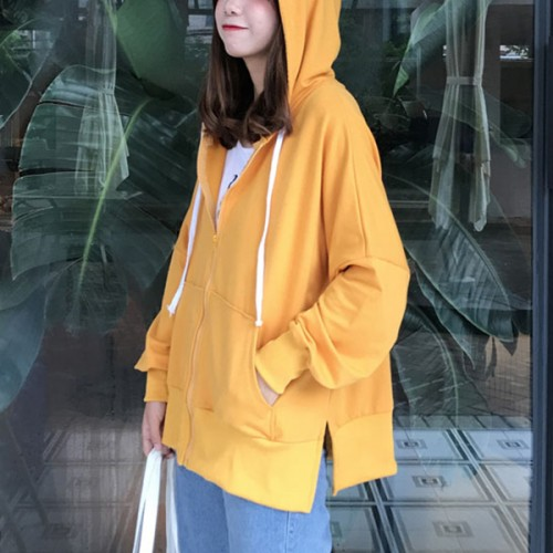 Beautiful Pattern Solid Color Hooded Jacket - Yellow