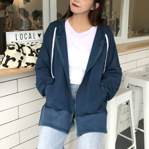 Beautiful Solid Color Long Sleeves  Hooded Jacket - Blue