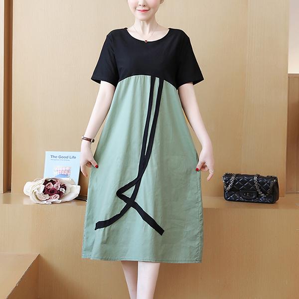 Contrast Fake Two Piece Skirt Dress - Green