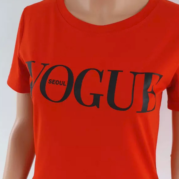Famous Printed Casual Top - Red