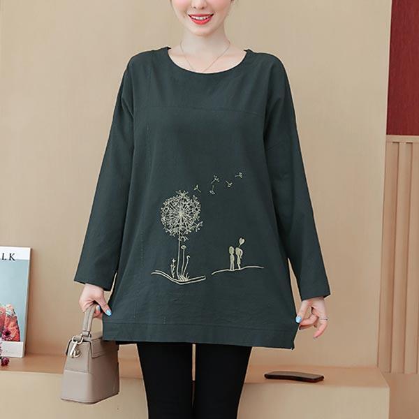 O-neck Long Sleeve Loose Cotton T-shirt Women Tops - Dark Gray
