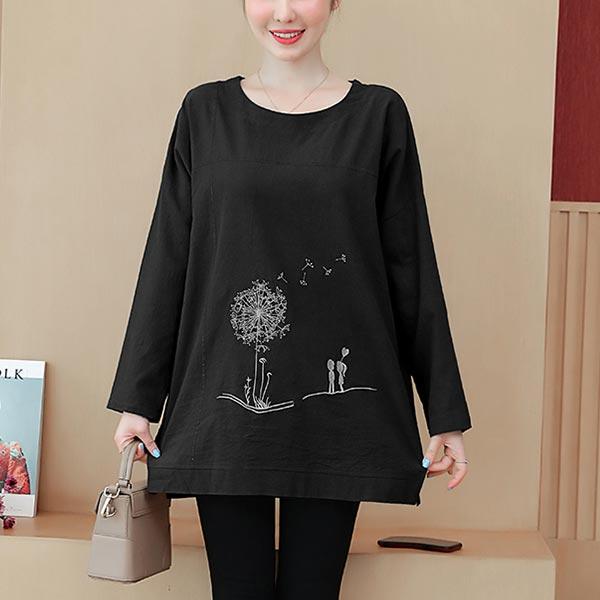 O-neck Long Sleeve Loose Cotton T-shirt Women Tops - Black