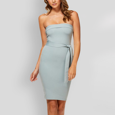 Bandeau Neck Knotted Mini Party Dress - Grey