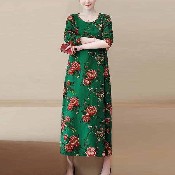 Floral Print Plus Size Women Cotton Leprosy Dress - Green