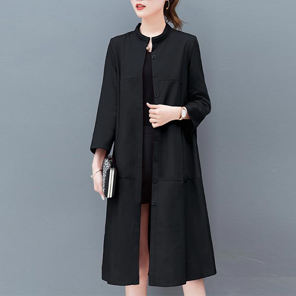 Loose A-line Stand-up Collar Women Jackets - Black