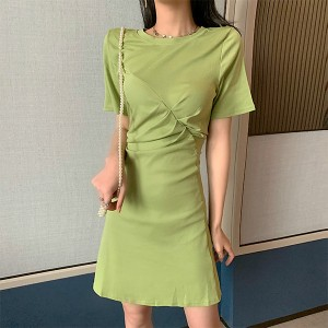 Round Neck Mini Summer Wear Dress - Green