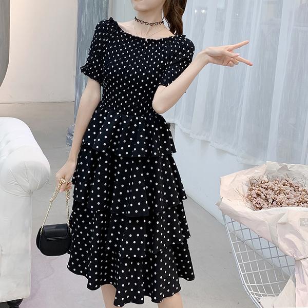 Flared Hem Polka Dot Prints Midi Summer Dress - Black