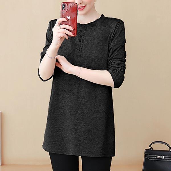 Loose Long Sleeve Cotton T-shirt Cotton Women Tops - Black